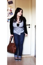 Mango jacket - H&M blouse - Monicas jeans - H&M shoes - Accessorize purse - Acce