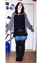 H&M top - Review jacket - Accessorize belt - H&M skirt - department store tights