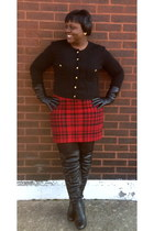 black leather gloves - black over the knee boots - black vintage cardigan