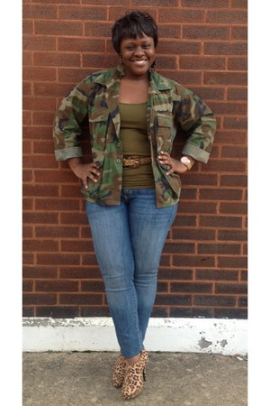 leopard print Christian Siriano boots - camo jacket