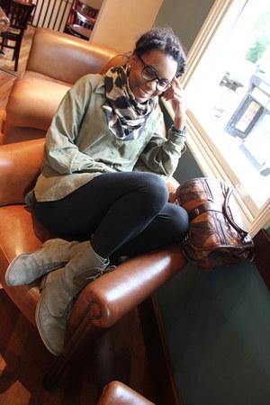 dark brown new look scarf - dark khaki H&M skirt