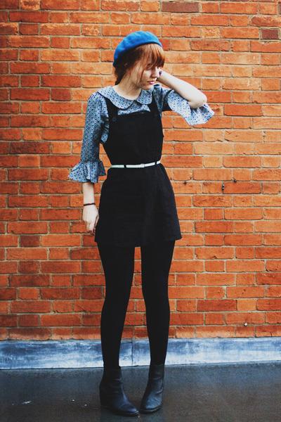 black thrifted boots - black thrifted vintage dress - blue H&M hat