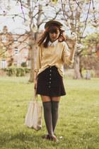 light brown asos socks - light yellow my mums sweater - ivory thrifted shirt