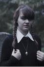 Black-thrifted-uniqlo-dress-black-pony-print-h-m-kids-tights