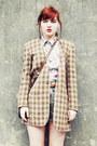 Brown-sonia-rykiel-blazer-beige-thrifted-shirt