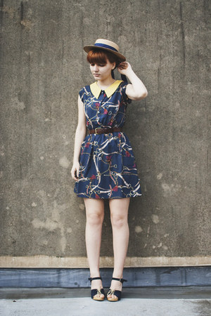 eggshell boater thrifted hat - navy scarf print Lovestruck dress