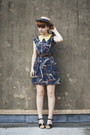 Navy-scarf-print-lovestruck-dress-eggshell-boater-thrifted-hat