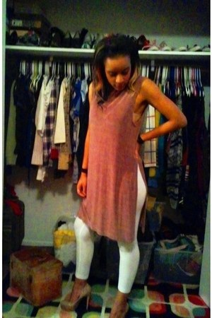 beige leopard print JLo heels - bronze silk Vintage store dress