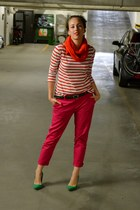striped H&M shirt - bright orange Zara scarf - pink trousers Zara pants - green