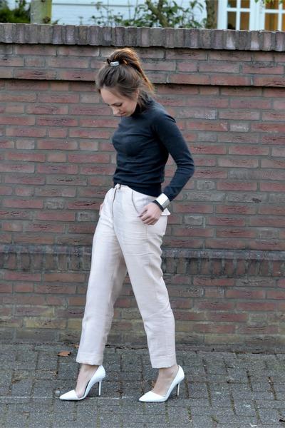 light pink high waisted H&M Trend pants - gray turtleneck Zara sweater