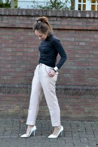 light pink high waisted H&M Trend pants - gray turtleneck Zara sweater