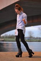 black pixel boots acne shoes - black jeans Topshop pants