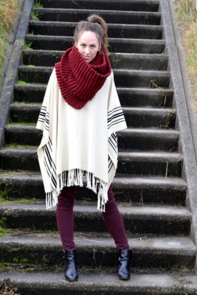 Hema scarf - Zara shoes - Topshop pants - fringed poncho H&M cape