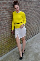 yellow bright yellow COS sweater - cream shirt dress H&M Trend dress