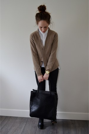 black leather H&M bag - white H&M blouse