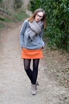 carrot orange Zara skirt - charcoal gray wool sweater h&m mens sweater