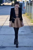 golden zipper Zara jacket - pixel acne boots - pleated mini Zara dress