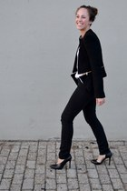 black Zara jacket - black kex smooth acne jeans - white white tank Zara top