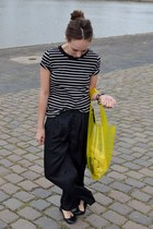 yellow H&M bag - black striped tee COS t-shirt - black silk pants Monki pants -