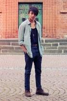 Zara jeans - Gracia boots - H&M shirt - weekday top - Zara belt