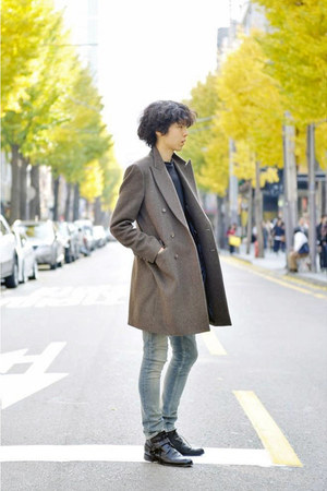 black leather dior homme boots - light brown Vandalist coat