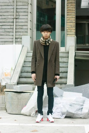 brown Vandalist coat - beige Burberry scarf - white nike sneakers