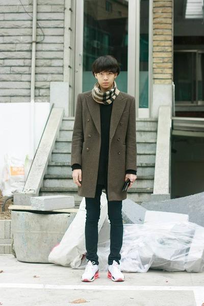 brown Vandalist coat - beige Burberry scarf - white nike sneakers