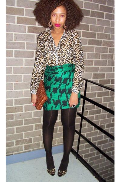 green H & M scarf - H & M shirt - brown Nine West purse - black Nine West shoes
