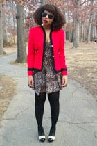 dark brown leopard print UO dress - ruby red vintage blazer