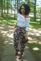 white Nautica top - Secondhand pants - brown purse - urban og shoes