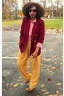 Mustard-secondhand-salmon-secondhand-shirt-maroon-talbots-blazer-brown-jes