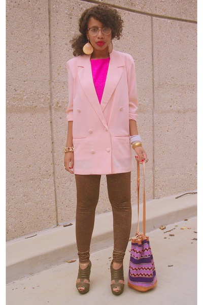 purple vintage - pink vintage blazer - pink vintage top - green Qupid shoes