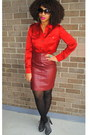 Ruby-red-silk-talbots-shirt-brick-red-leather-vintage-skirt