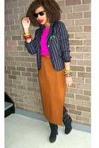 burnt orange vintage skirt - navy XXI blazer - hot pink vintage top - black Bake