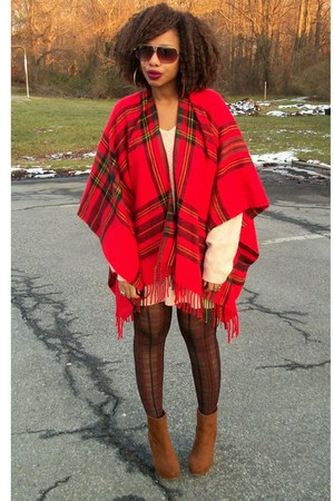 ruby red poncho Heritage 1981 cape - tawny wedges ankle boots
