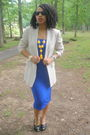 Blue-secondhand-skirt-beige-j-crew-blazer-black-steve-madden-shoes