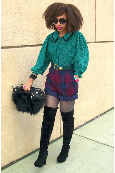 green Secondhand shirt - navy secnodhand shorts - black Faux fur bag - black OTK