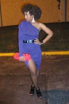 purple one sleeved Zara dress