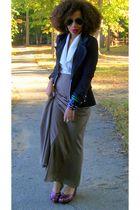 beige Forever 21 skirt - black Forever 21 blazer - red old wedges shoes - white