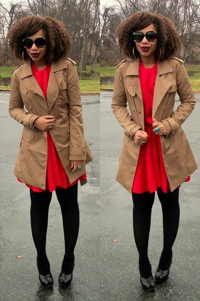 h&m red peplum dress