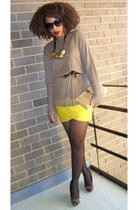 yellow Forever 21 scarf - beige Secondhand top - dark brown leo shoes