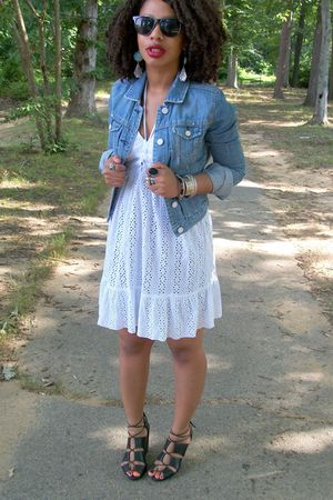 blue American Eagle jacket - black H & M shoes - Passport dress
