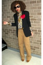 camel J Crew pants - brown Bob Mackie shirt - bronze Soda shoes - black vintage