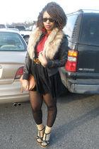 black Fleurish skirt - brown vintage belt - playboy shoes - brown vintage purse