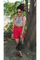 red Secondhand shorts - DIY top