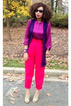hot pink Secondhand - purple Secondhand shirt - neutral snakeskin shoes - deep p