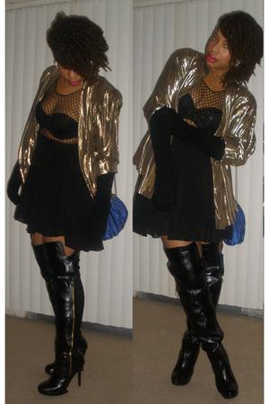 black go jane boots - yellow vintage blazer - Vintage Bob Mackie top - vintage p