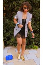 white shortsleeved vintage blazer - gold oxfords Forever 21 shoes