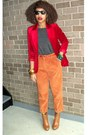 Carrot-orange-secondhand-pants-gray-xxi-top-tawny-bonibel-boots-brick-red-