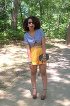 yellow Secondhand shorts - DIY shirt - Secondhand purse - old shoes